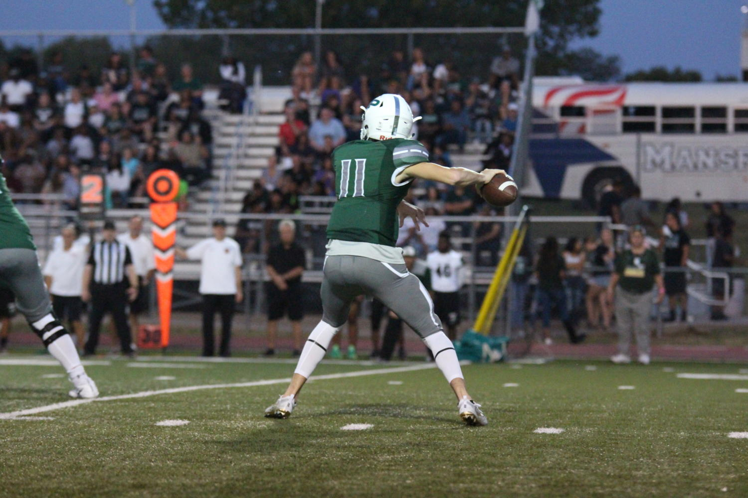 Keegan+Shoemaker+%2811%29+throws+a+pass+against+Mansfield+Lake+Ridge+on+September+8th%2C+2017.+Shoemaker+threw+for+2+touchdown+passes+against+Frisco+Liberty+on+September+15th%2C+2017.