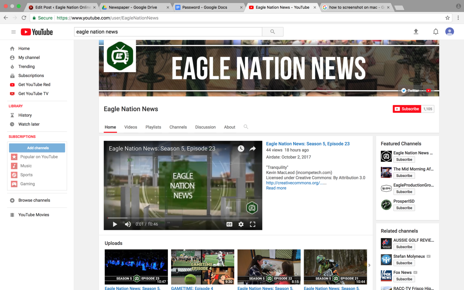 Front page of Eagle Nation News' YouTube page