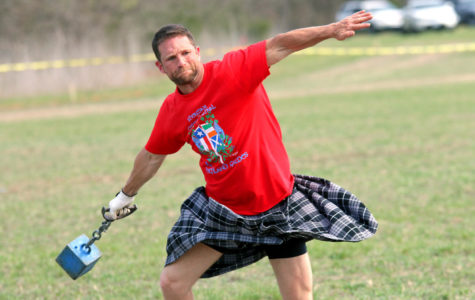 Scottish hammer throwing in Highland Games
