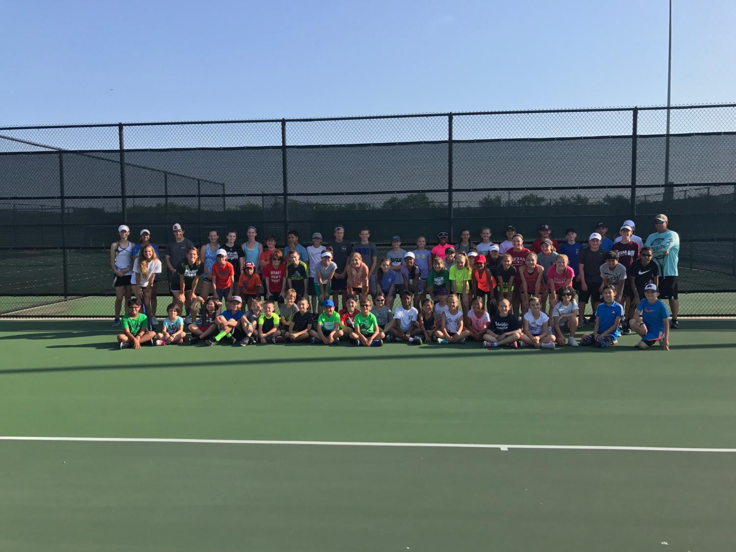 Last years participants of Coach Bowling's tennis camp.