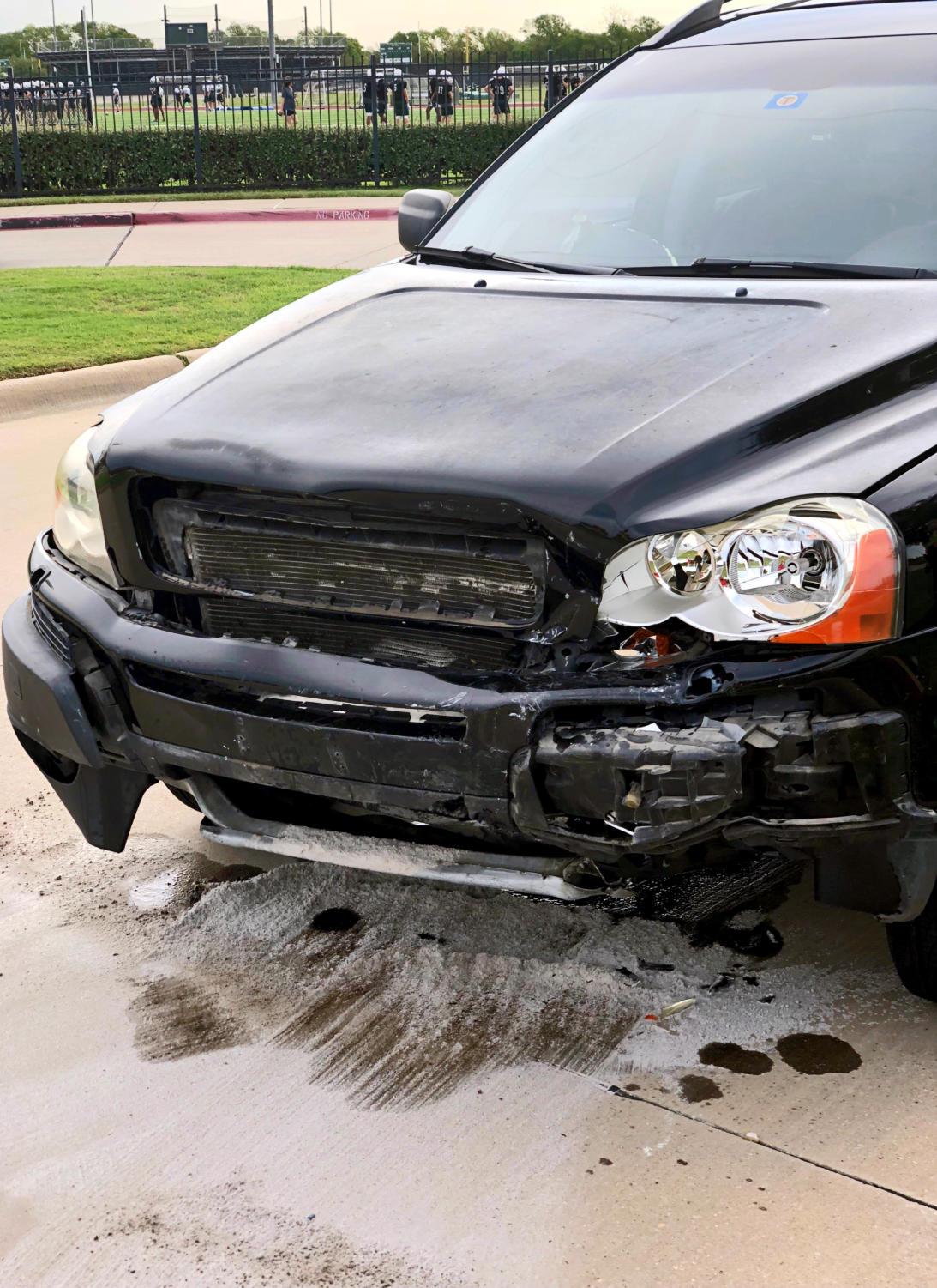 This student vehicle sustained damage during an accident that occurred occurred between Coleman and Parking Lot B on the morning of Aug. 15. Editorial Writer Haley Stack encourages students to take action that could prevent accidents like the one this vehicle suffered.