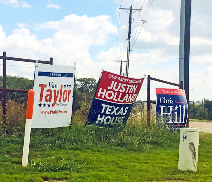 Campaign+signs+line+the+streets+of+Collin+County.+Signs+stand+strategically+placed+along+intersections%2C+allowing+for+candidates+to+make+their+political+presence+known.+In+the+attached+opinion+piece+Paige+Ruder+challenges+students+to+become+informed%2C+whether+they+will+be+voting+this+November%2C+or+not.