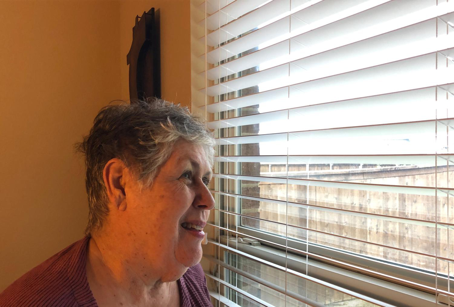 Survivor Sandra Johnson looks out a window as she talks about her battle with breast cancer. In the attached column, Johnson's granddaughter shares her feelings on the diagnosis.