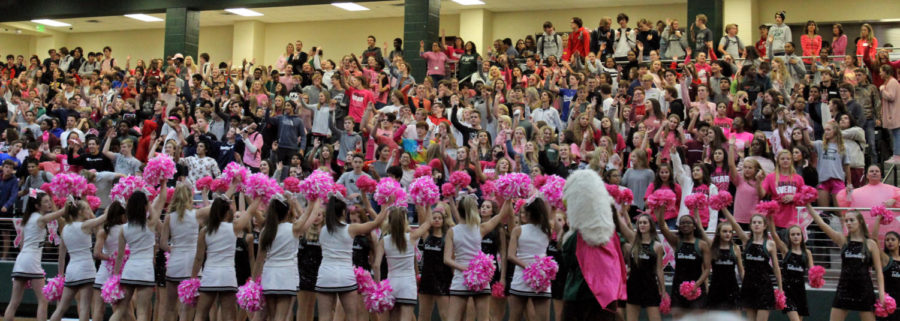 The+student+body%27s+attire+covers+the+crowd+in+pink+spirit+wear+in+for+the+%22Pink-Out+Pep+Rally%2C%22+which+was+held+Oct.+12.+The+%22Breast+Cancer+Awareness%22+campaign+uses+October+to+get+out+the+message+of+survivors.+Prior+to+the+pep+rally%2C+the+fourth-and+fifth+-graders+had+one+of+their+own.+Breast+cancer+survivors+were+in+attendance+at+both+events.+