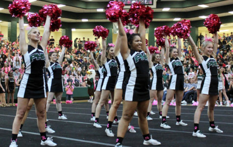 Prosper parties </br>in pink at pep rally