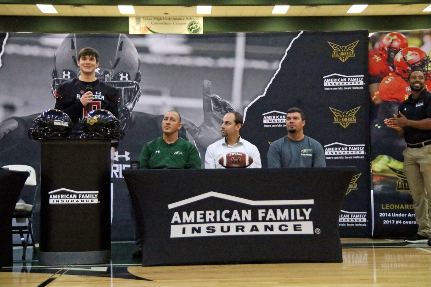 Senior Cade York recognizes his supporters in a small speech in front of all athletes. York was chosen to be an 'Under Armour All-American' and has recently committed to play football at Louisiana State University.
