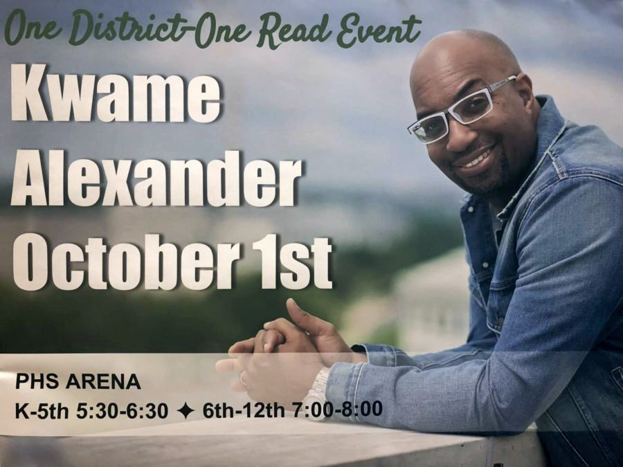 A+poster+advertising+Kwame+Alexander%27s+presentation+hangs+near+the+arena+where+the+author+will+be+presenting+on+Monday%2C+Oct.+1.++%22I+believe+it+is+important+for+students+to+go+to+hear+about+reading+from+an+accomplished+author%2C%22+PHS+librarian+Jenna+Hutt+said.+%22I+listened+to+a+podcast+recently+that+Kwame+Alexander+was+featured+on%2C+and+he+has+a+true+passion+for+writing+books+for+students+about+topics+that+are+important+to+them.%22+