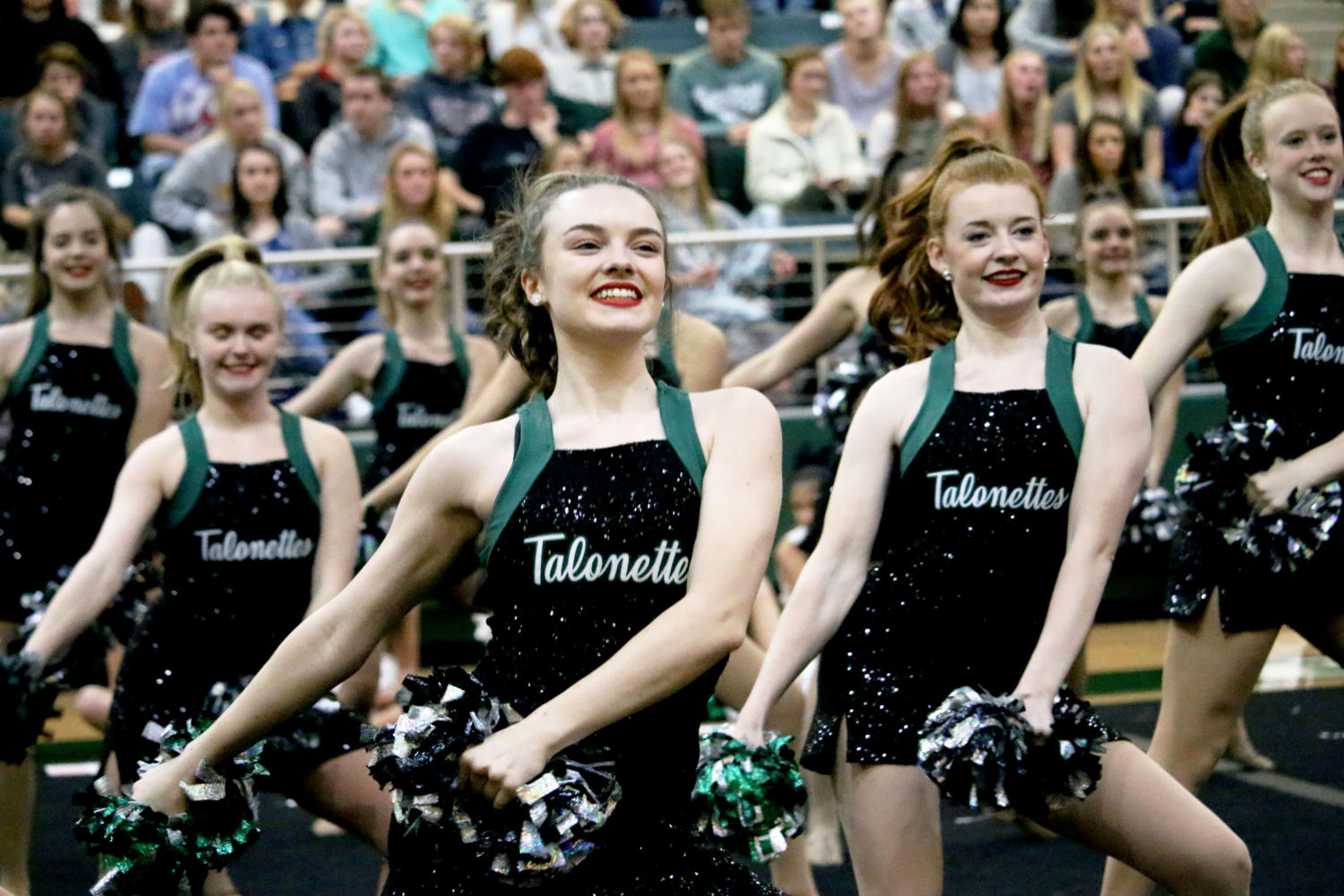 The Talonettes dance at each pep rally and sporting event. Tryouts for next year's team will take place in Gym 2, this Saturday. Dancers may also tryout to be a Talonette officer as well.