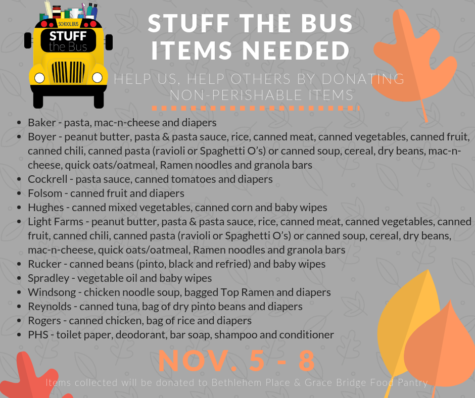 Students come together </br>to stuff the bus