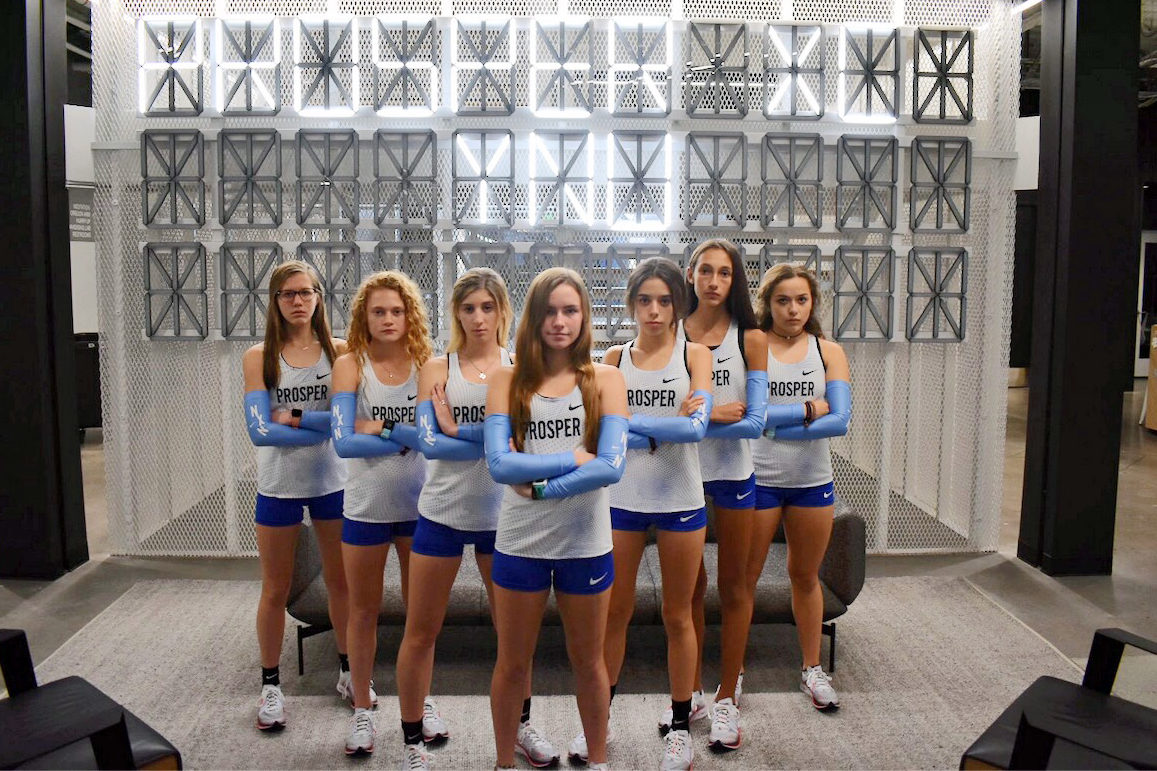 "Girls' cross country - Emily Kern, Aubrey O'Connell, Tatum Castillo, Madison Christy, Alexis Svoboda, Sadie Gonzales and Kirstin Towle - take a minute for a Nike Nationals picture. They placed 20th out of 22 teams. ""Going to Nike Nationals has been like a dream all of high school so to achieve this goal felt really good, but when you get there, you realize there are so many goals ahead,"