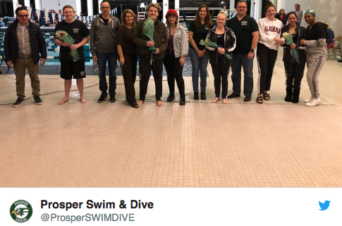Prosper Swim & Dive seniors take to the poolside with their parents. Prosper Swim & Dive posted this photo on their Twitter account on Dec. 11. The following words accompanied the photo: