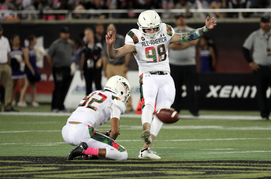 Cade York, No. 98, kicks a 59-yard field goal in the first quarter of the Under Armour All-America game. The kick marked the longest in the game's history.