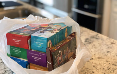 The Girl Scouts offer eight cookie choices: Samoas, Tagalongs, Do-Si-Dos, Trefoils, Thin Mints, Savannah Smiles, S'mores, and Toffee-Tastic.