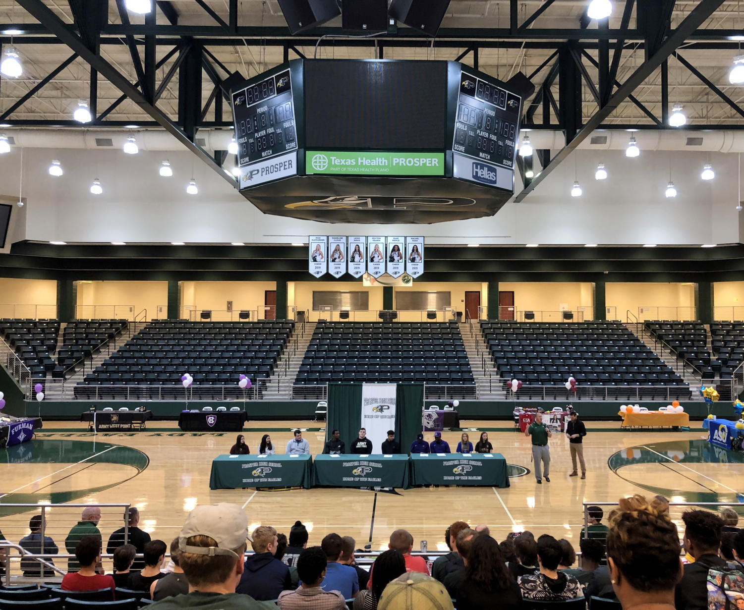 Ten senior athletes sign to continue playing sports at the colligate level. Family members, friends and teachers joined them as they committed on Signing Day. They joined athletes for refreshments and congratulations at 7:15 in the Arena on Wednesday, Feb. 6.