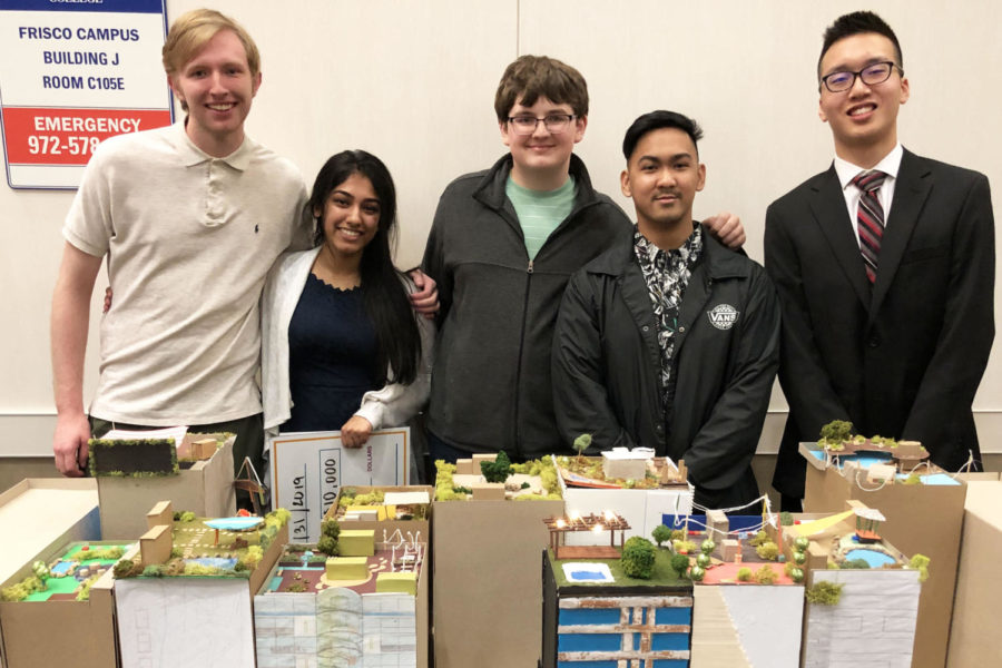 Architecture+students+Alan+Weng%2C+Edwin+Delima%2C+Brooks+Feldker%2C+Derek+Holdge+and+Aishwarya+%22Arya%22+George+stand+behind+New+York+City+building+models+at+the+Architecture+Construction+Engineering+Mentor+program+awards.+Their+teams%2C+which+included+students+from+other+schools%2C+won+first+for+project+video+and+display+board.+George+won+a+%2410%2C000+scholarship.+%22I+have+to+admit+I+jumped+up+and+yelled+louder+than+she+did+when+she+won%2C%22+architecture+and+engineering+teacher+Donald+Berliner+said.+%22This+was+a+two+month+program+the+students+attended+every+Thursday+night+with+mentors+from+the+ACE+fields.+Prosper+had+five+students+in+the+group+of+90.%22