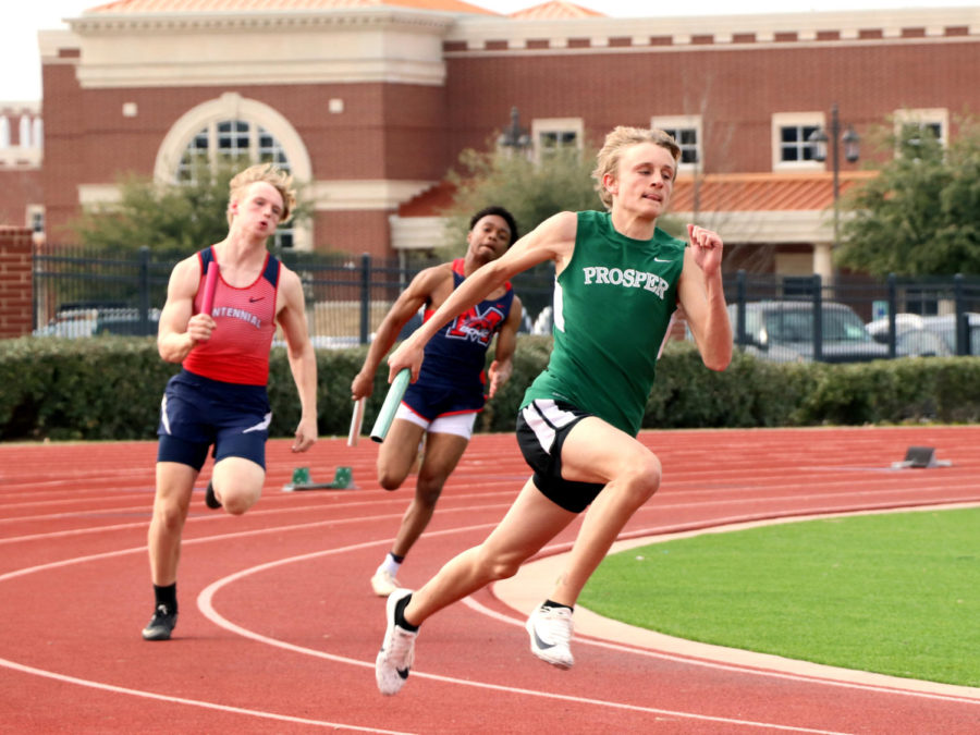 Frisco Centennial and McKinney Boyd runners seem to trail behind freshman Jaxson Lanz in a relay event. In three relay events, the Eagles finished fourth in one event, and placed toward the bottom of the field in the other two.