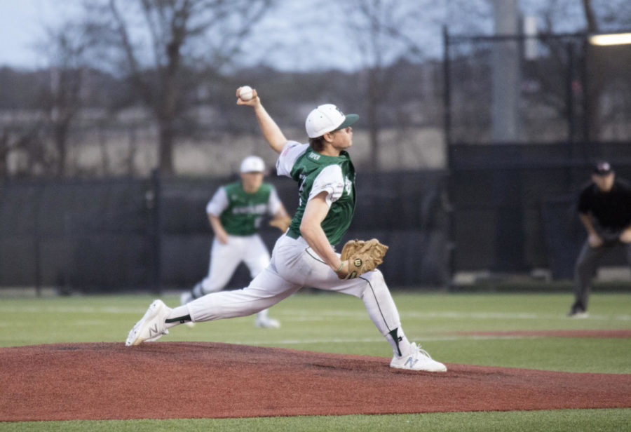 Jake+Cosner%2C+No.+2%2C+hurls+a+pitch+in+a+game+against+Plano+East+March+22.+Cosner%2C+a+senior%2C+is+one+of+the+starters+on+the+Prosper+pitching+staff.+