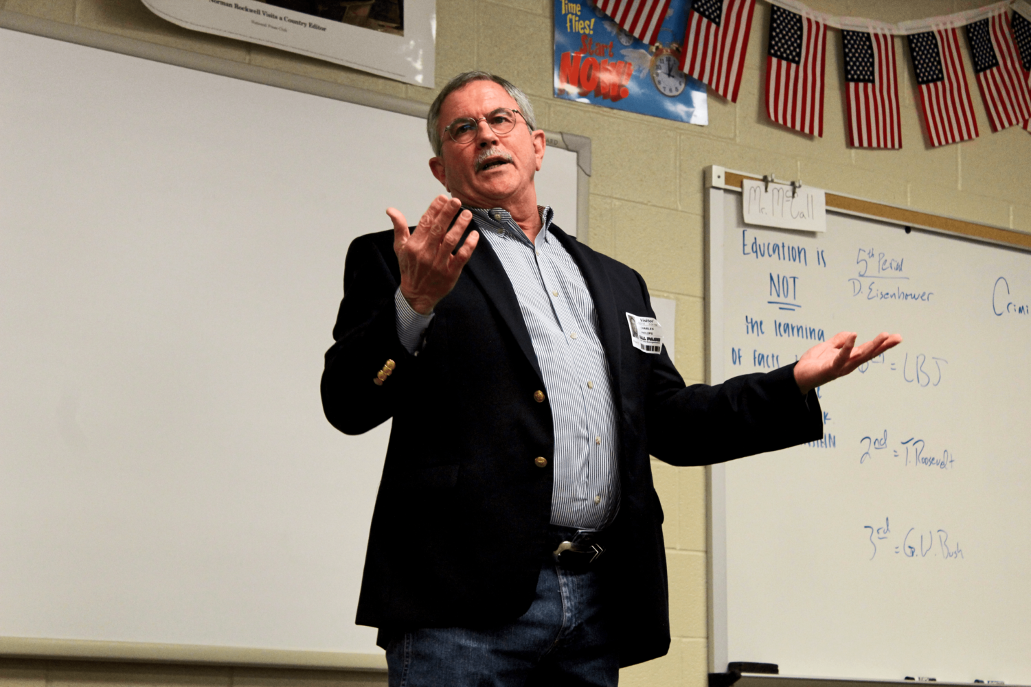 Lawyer Charles Phillips talks to Rod McCall's sixth-period government class. Phillips has practiced law in Collin County for the past 25 years.