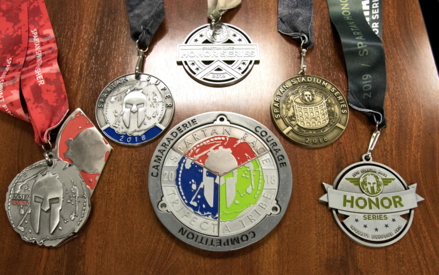 After completing every Spartan Race, competitors receive a traditional medal along with a pie-piece medal.