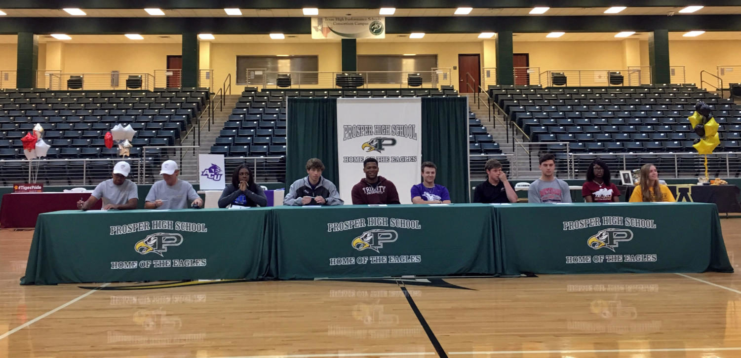 Seniors commit to further academic and athletic careers. A ceremony was held Wednesday, April 17 in the arena. Family and friends joined the athletes afterwards to congratulate them.