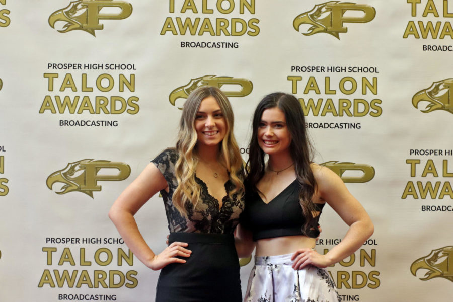 Senior+Haylee+Brown+and+junior+Kacey+Boston+pose+on+the+red+carpet+prior+to+the+Talon+Awards+show.++The+red+carpet+started+at+5+p.m.%2C+and+students+along+with+families+were+able+to+take+pictures.+The+show+followed+up+after+in+the+auditorium.+