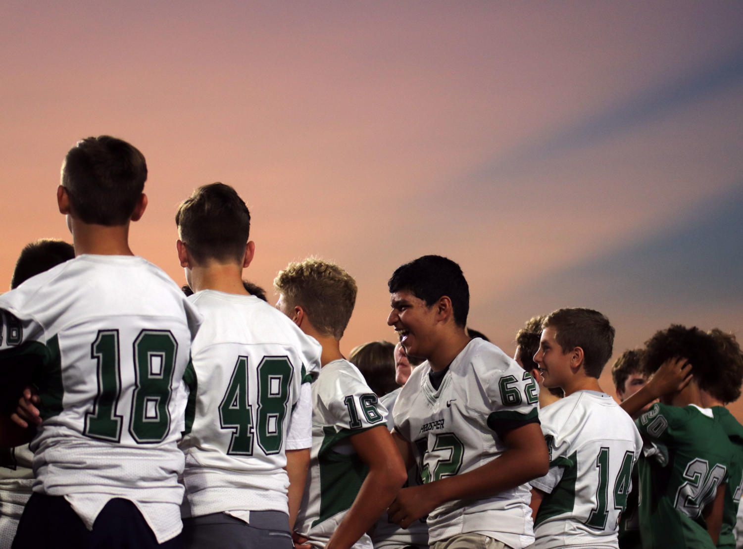 Freshman football players walk in their first Meet the Eagles. Fall sports were formally introduced to the public under the lights. The new PISD stadium in partnership with Children's Health was also inaugurated. The first Varsity game will be at the stadium Aug. 30.