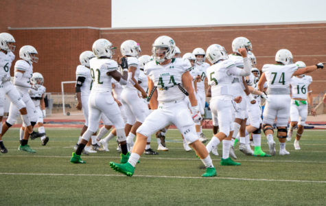 Junior Aidan Siano, No. 44, gets ready during warm-ups before the football game at Flower Mound Friday night Sept. 13. The Prosper Eagles beat Flower Mound with a score of 57-34. The team is currently 3-0, and they will take on McKinney High school Sept. 20 at McKinney, starting 7 p.m.