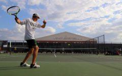 Star tennis players raise racket(s) on court