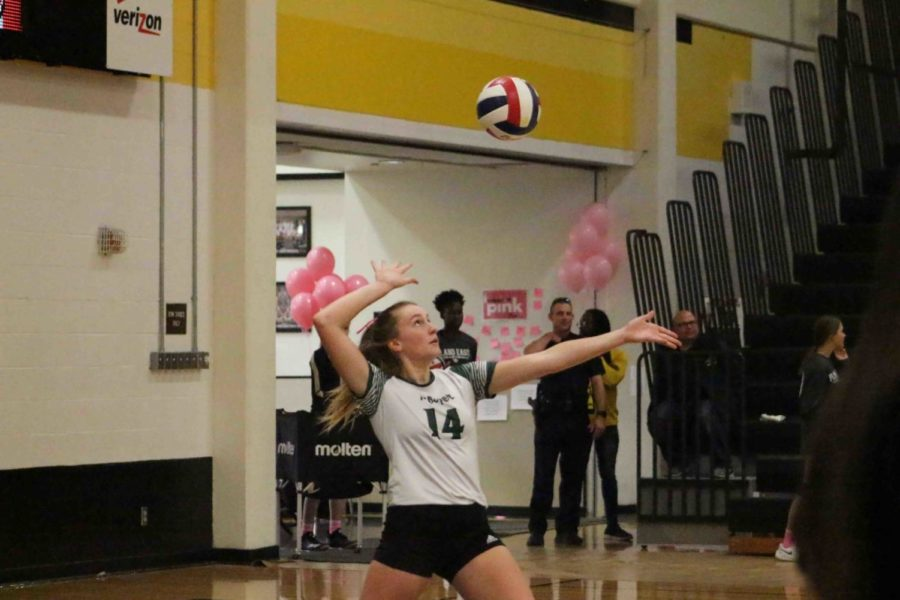 No.+14+Riley+Price+serves+toward+the+Plano+East+Panthers.+Price+is+a+junior+on+the+Prosper+Varsity+team.