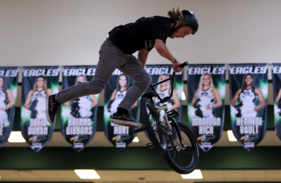 20-year-old Jared Wiedower soars over PHS students. ASA High School Tour came to Prosper High School to educate students about bullying with a unique approach.