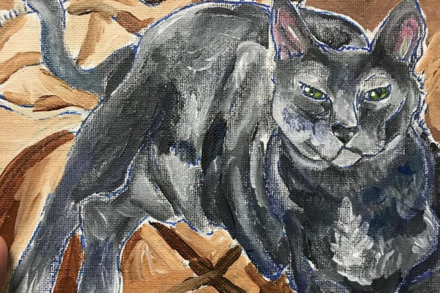 A pet portrait of a cat painted by former PHS students and National Art Honor Society member Kelsi Ferguson sits on display. Students and staff can submit photos of their pets to the NAHA sponsor Gina Mock to get a portrait of their pet for $25. My favorite part of creating them, is using a picture they submit, and turning it into my own style, senior and NAHS Vice President Kyri Morris-Jackson. The person who orders it can specifically request how they would specifically want their portraits to look like, but normally they let us do what we want.
