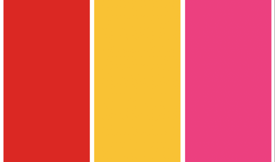 Columnist Rin Jackson photoshops color swatches of summer-fig red, butterscotch yellow, dove- fruit pink. According to Jackson's research, the three colors are widely predicted to be popular this season.