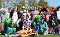 Baseball 'bats' in Halloween scrimmage