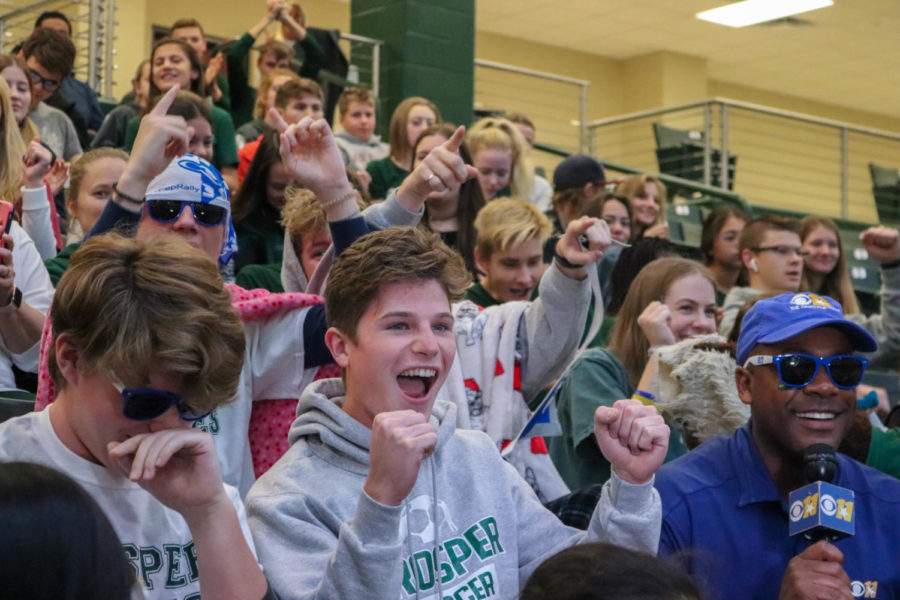 Student+body+president+Preston+Cutler+and+Student+Council+member+Cole+Kindiger+cheer+as+CBS+11+reporter+interviews+them.+This+was+the+last+pep+rally+of+the+season.+%22Being+able+to+represent+the+positive+spirit+of+Prosper+High+School+on+TV+was+pretty+awesome%2C%22+Cutler+said.+