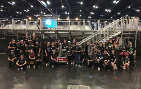 The Prosper Robotics Team gathers with all their alliance partners at the World Competition last year. The team will begin their regular season Feb. 28.