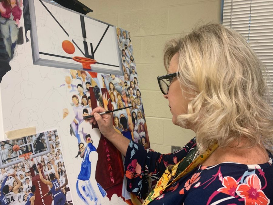 "Art teacher Judy Seay works on a piece of her artwork at the end of the school day. ""I love art, and it has always been a part of my life,"