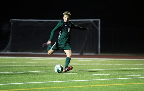 Senior Nathan Smith, No. 11, steps up for a penalty kick. The Eagles won their first scrimmage of the season against Irving Nimitz last Friday 3-1. They will scrimmage tonight against Hebron at 7:30.