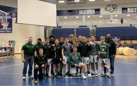The Prosper Varsity and Junior Varsity Wrestling won their Jaguar Invitational. LJ Richardson won the Outstanding Wrestler Award for the tournament. Audrey Walker also placed third at the Prestigious Coyote Classic.