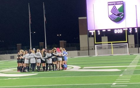 The girls soccer team celebrate their win on Feb. 7. The team went against the Allen Eagles and won 3-2. Allen was ranked #2 in the state.