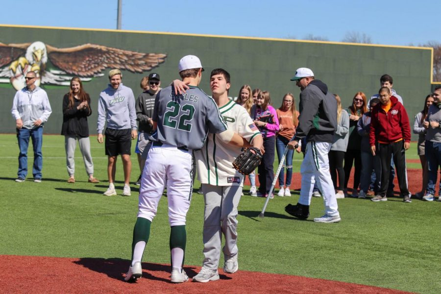 The+Prosper+Baseball+team+plays+Partner%27s+PE+at+the+ballpark.+They+played+with+the+Highland+Park+Scot+Baseball+team.+Prosper+previously+beat+Highland+Park+with+a+score+of++9-4+on+Feb.+28.