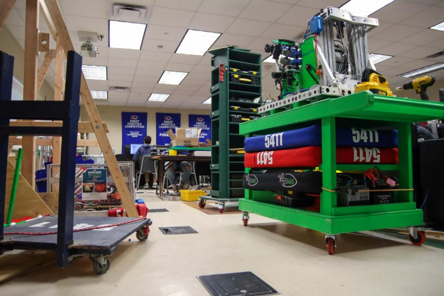 The robotics room is used to fix robots and prepare them for competitions.