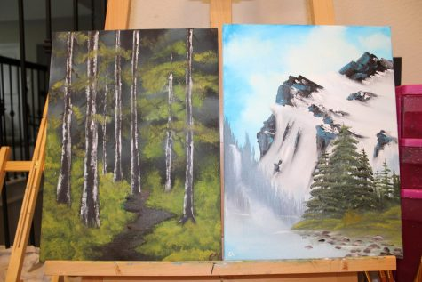"Sophomore Christi Norris finds her cure for quarantine anxiety by following Bob Ross to learn how to use oil paints. ""I just love Bob Ross, he always has something positive to say and it"