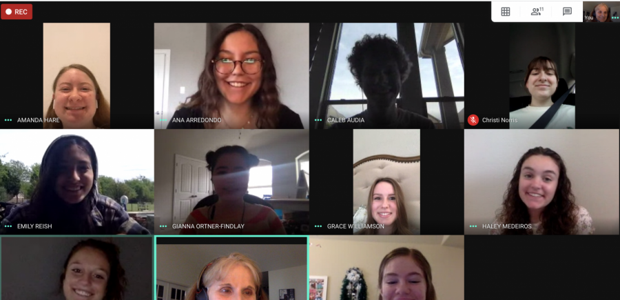 The Eagle Nation Online staff smiles for a picture during their pitch meeting. Staff meetings happen every week day at 11:30 over Google Hangouts Meet.