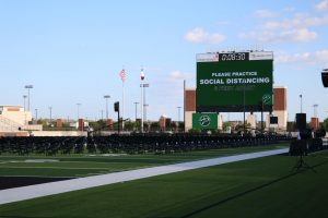 Time ticks away at the countdown clock for the start of the 7 p.m. June 5 class of 2020's graduation ceremony at Prosper's Children's Health Stadium.