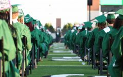 The class of 2020 awaits the beginning of their 7 p.m. June 5 graduation ceremony in the Prosper ISD Children's Health Stadium.