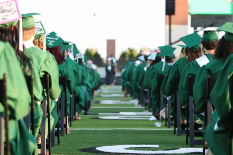 The class of 2020 awaits the beginning of their 7 p.m. June 5 graduation ceremony in the Prosper ISD Children