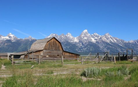 A famous barn from the Mormon Row district of Grand Teton National Park stands at the foot of the mountains. Settlers established Mormon Row in 1890. The settlement was added to the National Register of Historic Places in 1997.