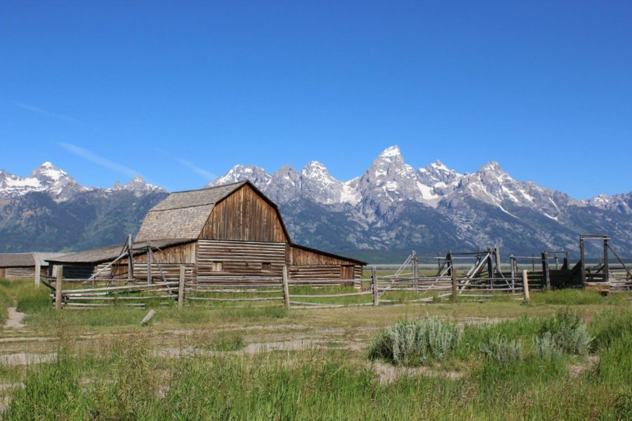 A+famous+barn+from+the+Mormon+Row+district+of+Grand+Teton+National+Park+stands+at+the+foot+of+the+mountains.+Settlers+established+Mormon+Row+in+1890.+The+settlement+was+added+to+the+National+Register+of+Historic+Places+in+1997.+