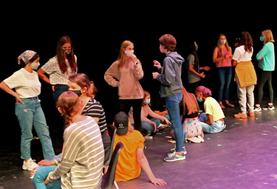 Theatre students use precautions while they meet each other through 'speed dating' to begin their program.