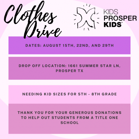 To give back to the community, Kids Prosper Kids is holding a clothing drive on Aug. 22 and 29. The non-profit organization started three years ago. They hold local volunteer events while building a trade school in Ghana, Africa.